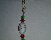 Handmade Red & Green Crystal Blown Glass Lampwork Bead Christmas Holiday Theme Gold Key Chain Accessory Gift HOLIDAY  SALE