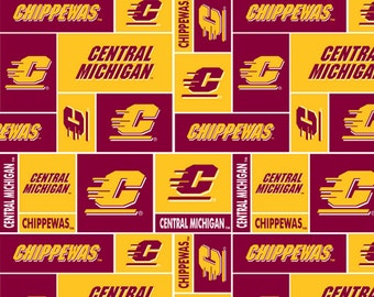 Cotton Central Michigan University CMU Chippewas College Team Cotton Fabric Print by the Yard scmu840s