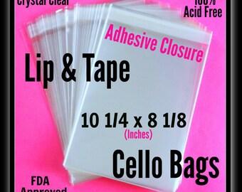 100  10  1/4 x 8  1/8  Lip & Tape  Cello Bags ..  Clear Bags, Self Sealing, Cello Bags, Adhesive Cello Bags, Adhesive Sleeves