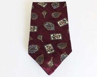 CLEARANCE Bravini Burgundy Gold Blue Green Tan Cream Paisley Silk Necktie Great Gift Idea