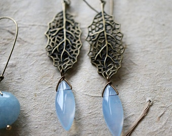 Vintage Antique Brass Chandelier Leaf & Periwinkle Drop, Modern Everyday Jewelry Simple Boho Gypsy, Gift For Her, Earrings