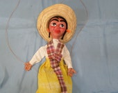 """Vintage 13"""" Marionette Puppet Girl Yellow Dress Sombrero Scarf Painted Face"""