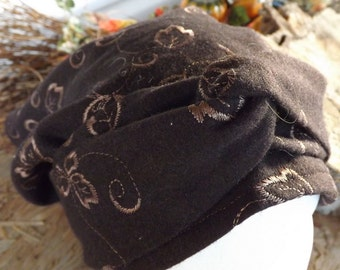389 Dromedary Brown 100% WOOL Embroidered Long Headcover Scarf with Long Wrap Ties