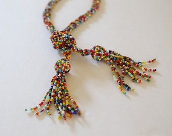 Tassel Necklace Colorful Necklace Beaded Necklace