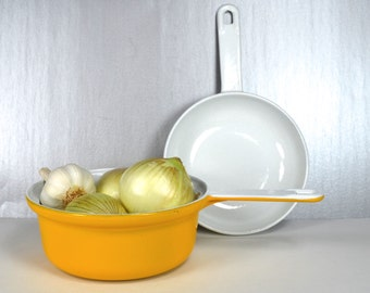 Finesse Covered Saucepan, Pot with Skillet/Cover, Yellow & White Enameled Cast Iron Set, Yellow Pot w White Frying Pan Lid, GHC Japan