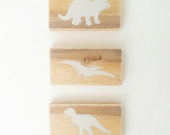 Three Dinosaur Nursery / Childrens Natural Wooden Wall Art | Handpainted | T-Rex | Stegasaurus