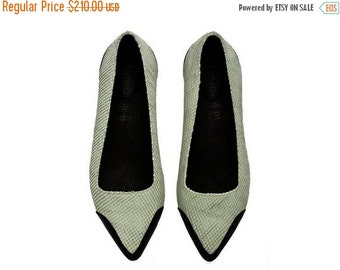 SUMMER FINAL SALE Special Edition Susan Mint & Black pointy Flats /  Leather handmade Flats