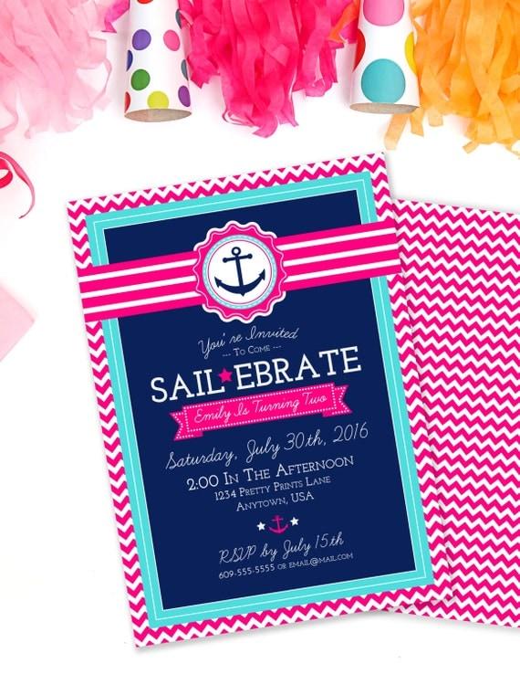Sailebrate Birthday Nautical Invitation Beach Party Pink Pool