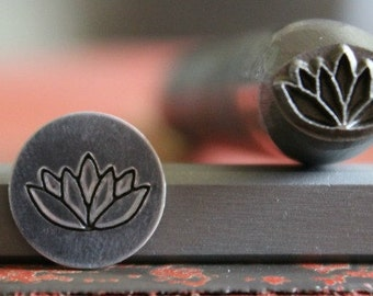 Lotus Flower Metal Design Stamp-Available in 3 Different Tool Sizes-Advantage Stamp Series-Made in USA-SGAD-8