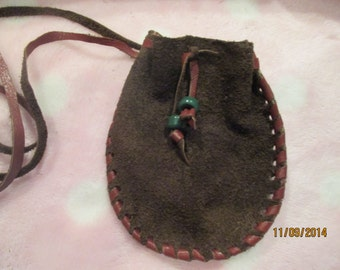 Dark Brown Suede Leather Neck Pouch Medicine Bag Hand Laced Glass Beads
