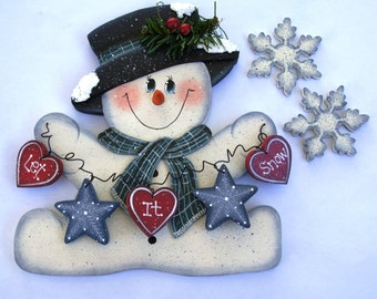 """Jan Snowman and Snowflakes for """"Monthly Interchangeable Welcome Sign""""  - Wood Door or Wall Sign Hanging"""