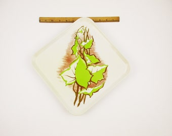 """Four 10"""" Square Serving Trays - Cream - Lime Green Leaf Pattern With Faux Brown Chalk Shading - Great Style and Size - Useful and Usable"""