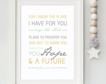 Bible Verse Art  -  Jeremiah 29:11 - Scripture Print - Child's Room Decor - Typographic Print - For I Know The Plans Wall Quote