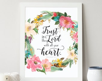 Proverbs 3:5 Printable, Trust in the Lord, Nursery Art, Bible Verse Art, Wall Quote, Typography Print, Scripture Art, Verse Art, Bible Print