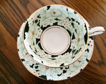 VICTORIA C&E CHINA TEACUP - Peony Pattern - Green and Black - Hand Painted Moriage