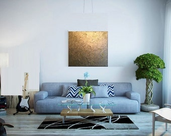 Gold painting textured painting acrylic painting canvas wall art golden by Sami