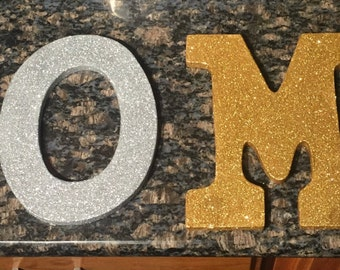 Silver and Gold HOME glitter letters