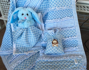 Baby Boy Raggy Quilt Ensemble - Made to order