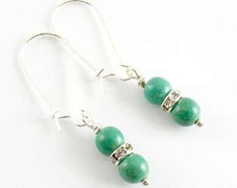 Simple Turquoise Earrings, Green Turquoise Dangle Earrings, Rhinestone and Turquoise Earrings