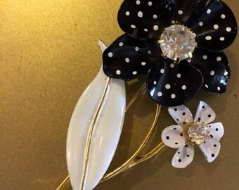 Large 1950s Enamel Black and White Ploka Dot Flower Brooch