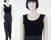 Vintage 1980s Women's Black Sleeveless Jumpsuit by John Roberts / Matching Belt
