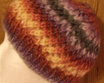 Slouchy Spin Cycle  Handknit Hat in Multicolors Size Small