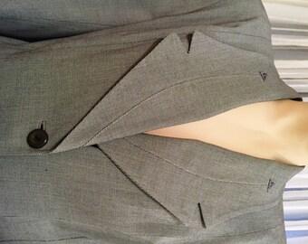 Larger Size, Vintage Grey Green Tweed Wool Gabardine Suit, ca 1940s