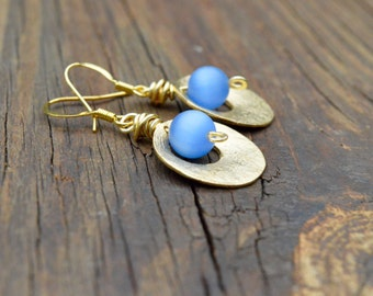 Blue Czech Glass and Gold Earrings