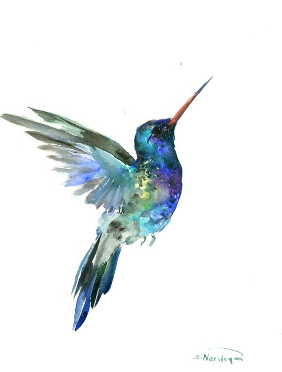Hummingbird painting 14 x 11inbright color flowers