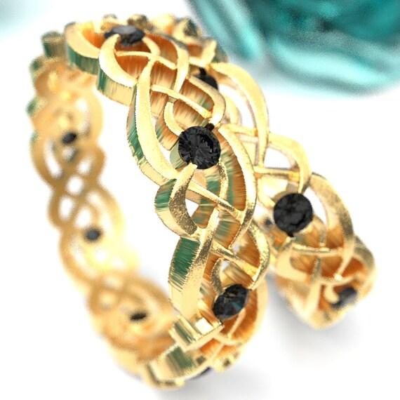 Black Diamond Gold Wedding Ring Set, Celtic Infinity Band, Eternity Diamond Ring in 10K 14K 18K Palladium or Platinum, Custom Size 1044