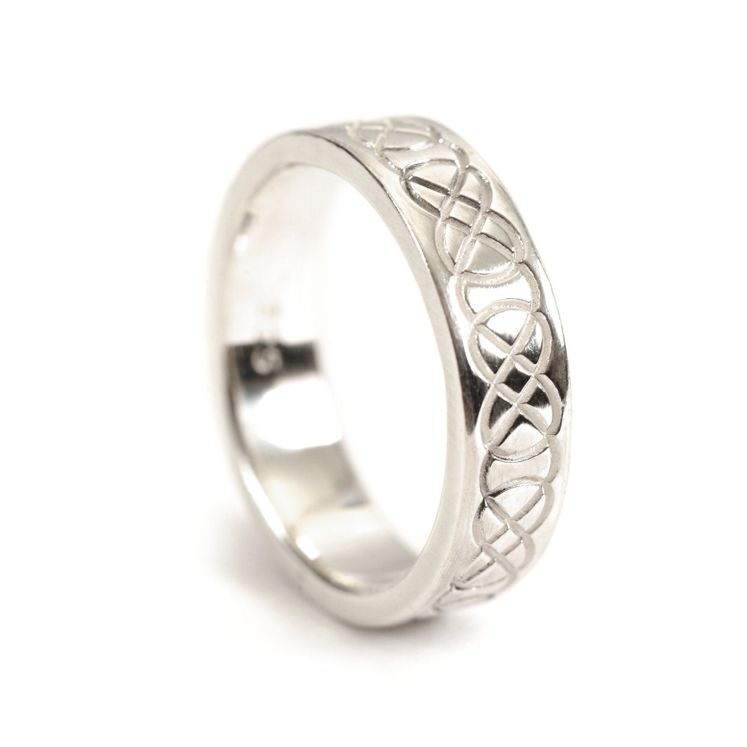 Celtic Wedding Ring with Raised Relief Infinity Knotwork 10K