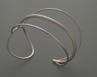 Sterling Silver Triple Wire Cuff, silver, cuff, bracelet, forged, handmade