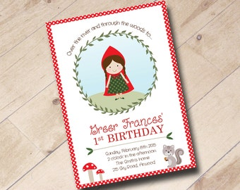 Little Red Riding Hood First Birthday Invitation