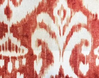 "Paprika, Coral and Cream Ikat Designer Pillow Cover- Accent Pillow- Throw Pillow- Holds 22"" Insert"