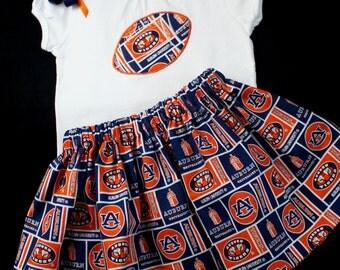 Auburn Tigers girl's 3pc Tee Top, Skirt, and Hair Clip Set