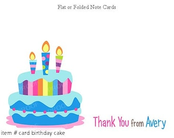 Party Cake Birthday Thank You Personalized Note cards Stationery Set of 10 flat or folded notecards