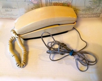Vintage Phone Push Button Telephone 1980s Beige Wall Phone Slimline GTE Automatic Electric Telephone  Mid-century Landline Telephone Phone
