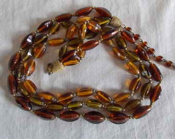 Vintage Brown And Green Glass Craft Necklace Beads // 12