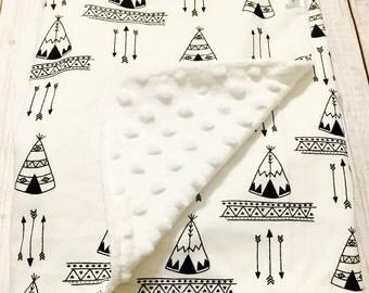 Gender Neutral Baby Blanket, Teepee Arrow Tribal Baby Blanket, Black White Baby Blanket by BizyBelle