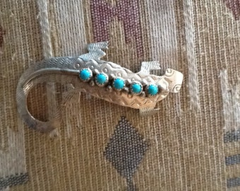 Pin Lizard Large Sterling Turquoise