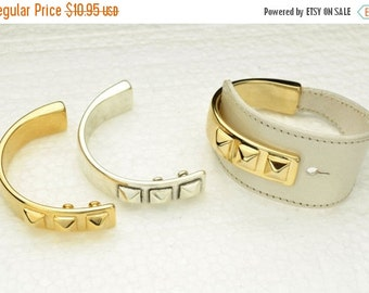 20% OFF Triple Stud Half Cuff Bracelet Finding for Leather Cord  -  Gold Finish