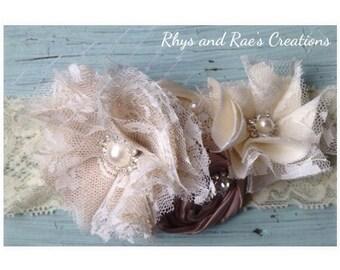 Champagne, Cream, Ivory, Vintage Lace Bridal Garter, Wedding Garter, Fabric Flower, Keepsake Garter, Rosettes, Pearls & Lace Garter Set