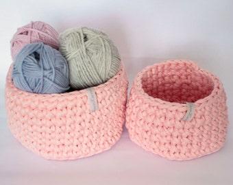 Two crochet baskets, storage baskets, bathroom storage, storage for make up, storage for toys
