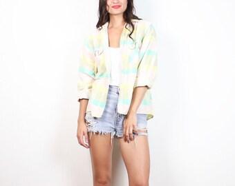 Vintage Pastel Flannel Shirt 1990s Worn Soft Grunge Pink Mint Yellow Buffalo Check Plaid Boyfriend Shirt 90s Plaid Flannel XS S Extra Small