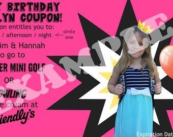 Customized Digital Birthday Coupon For Boys and Girls