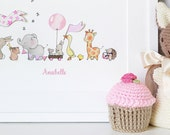 Pink Parade, Nursery Art Picture, Giclée Print, baby's bedroom Illustration, Baby Girl, Pastel Pink, Pale Pink, Children's decor