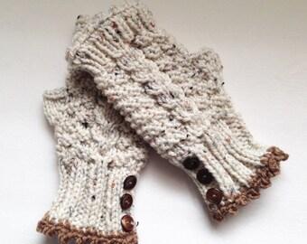 Aran Fleck Gloves, Fingerless Mittens, Hand Knit Wrist Warmers, Homespun Looking Gloves, Texting Gloves, Winter Mittens, Womens Arm Warmers