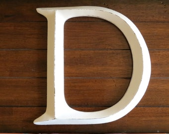 Letter D or Pick Letter / Wall Letter / Antique White or Pick Color /Wall Decor/Mantle Decor/Nursery Girl's Room Office Wall D