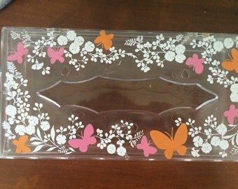 Vintage Acrylic Wolff Butterfly Tissue Holder, 10""