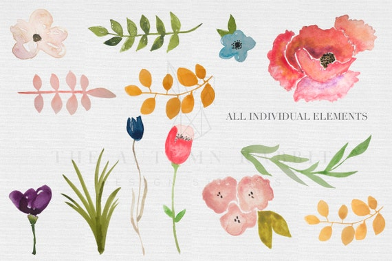Watercolor flowers clipart files high res by theautumnrabbit - High resolution watercolor flowers ...
